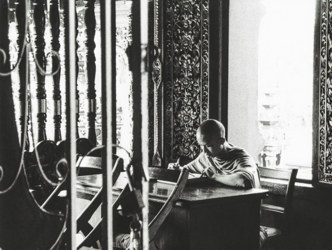 Monk Studying in Thailand, Black and White Film Photography
