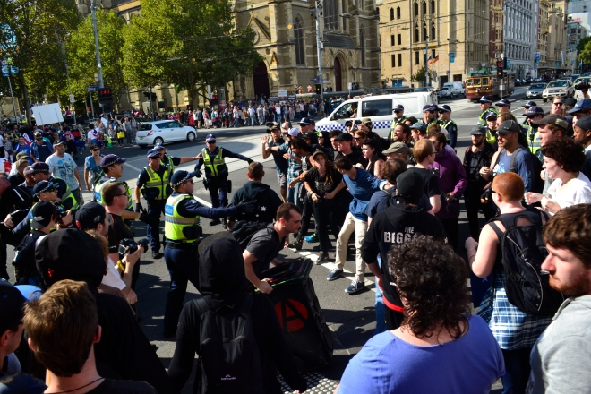 Melbourne Protest Racist Police Facist Counter Protest 2015