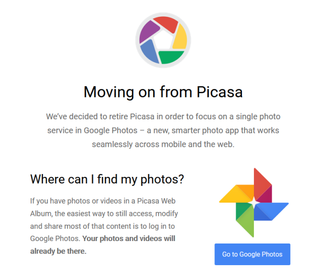 Google no longer allows downloads of Picasa